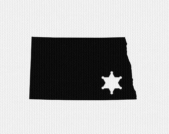 north dakota sheriff svg dxf file stencil instant download silhouette cameo cricut downloads clip art sheriff state svg dxf file