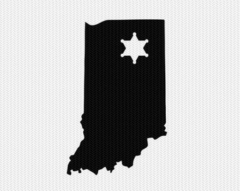 indiana sheriff svg dxf file stencil instant download silhouette cameo cricut downloads clip art sheriff state svg dxf file