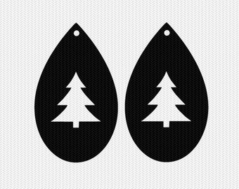 christmas tree earring template earring svg gift tags cricut download svg dxf file stencil silhouette cameo cricut clip art commercial use