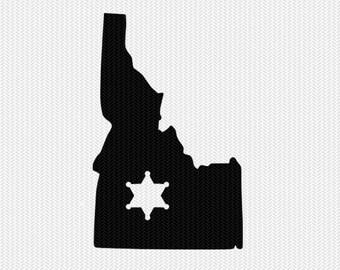 idaho sheriff svg dxf file stencil instant download silhouette cameo cricut downloads clip art sheriff state svg dxf file