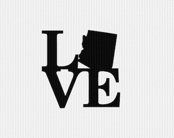arizona love svg dxf file stencil monogram frame silhouette cameo cricut download clip art commercial use