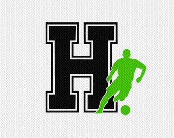 soccer H decal monogram silhouette stencil svg dxf file instant download silhouette cameo cricut downloads clip art commercial use