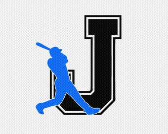 baseball J decal monogram silhouette stencil svg dxf file instant download silhouette cameo cricut downloads clip art commercial use