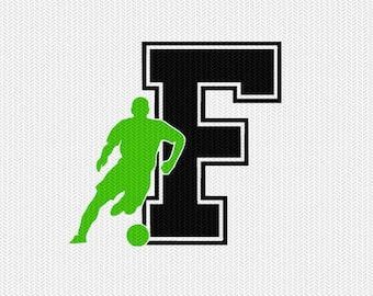 soccer F decal monogram silhouette stencil svg dxf file instant download silhouette cameo cricut downloads clip art commercial use