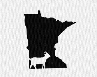 minnesota goat svg dxf file stencil instant download silhouette cameo cricut downloads clip art animals goat state svg dxf file