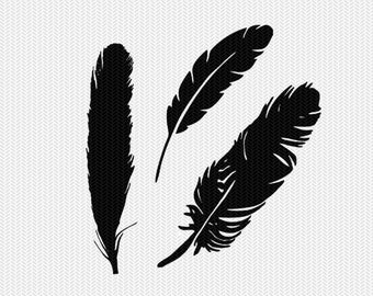 feathers svg dxf clip art cut file instant download silhouette cameo cricut downloads digital scrapbooking commercial use