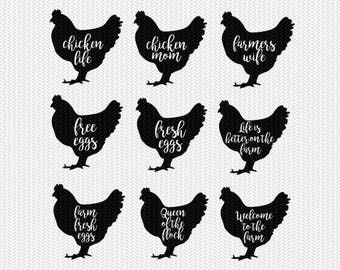 hen chicken farm set svg dxf file instant download stencil silhouette cameo cricut clip art animals commercial use