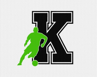 soccer K decal monogram silhouette stencil svg dxf file instant download silhouette cameo cricut downloads clip art commercial use
