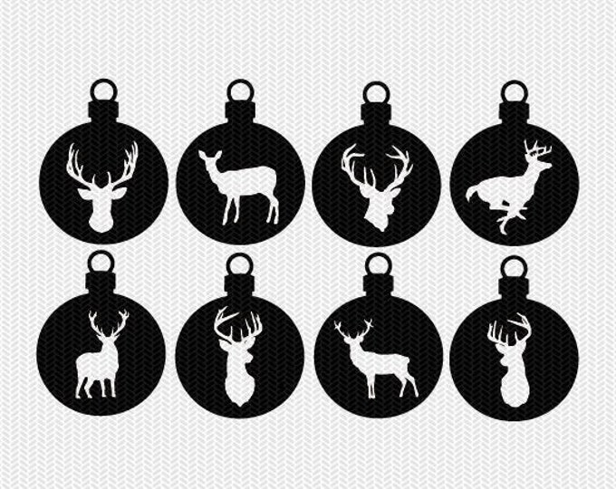 deer ornament svg gift tags cricut download svg dxf file stencil silhouette cameo cricut clip art commercial use