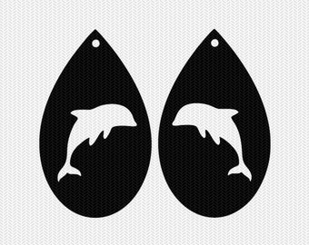 dolphin earring template earring svg gift tags cricut download svg dxf file stencil silhouette cameo cricut clip art commercial use