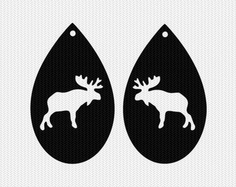 moose earring template earring svg gift tags cricut download svg dxf file stencil silhouette cameo cricut clip art commercial use