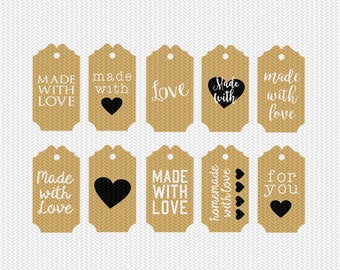 made with love gift tags labels svg dxf jpeg png file stencil monogram frame silhouette cameo cricut clip art commercial use