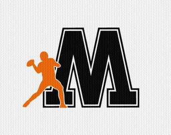 football M decal monogram silhouette stencil svg dxf file instant download silhouette cameo cricut downloads clip art commercial use
