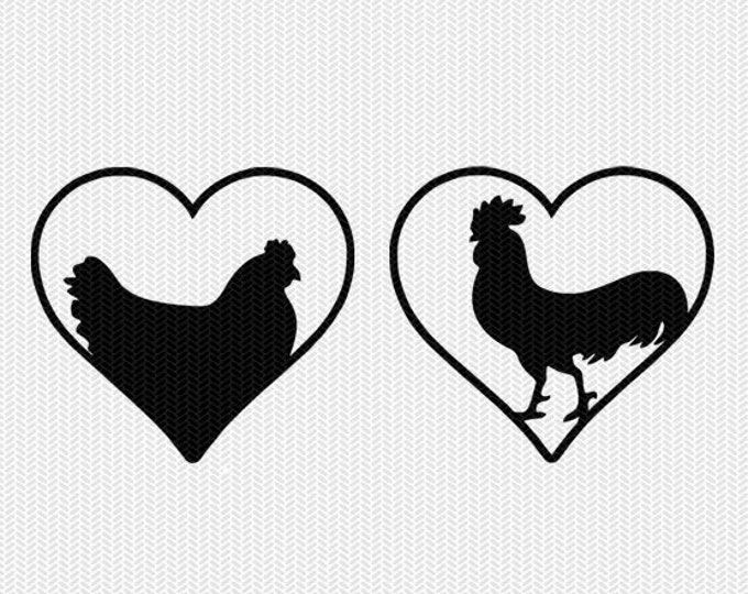 chicken hen rooster heart svg dxf png file instant download stencil silhouette cameo cricut downloads cut file clip art commercial use