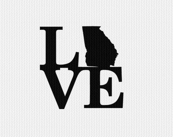 georgia love svg dxf file stencil monogram frame silhouette cameo cricut download clip art commercial use