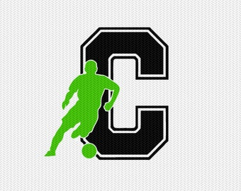 soccer C decal monogram silhouette stencil svg dxf file instant download silhouette cameo cricut downloads clip art commercial use