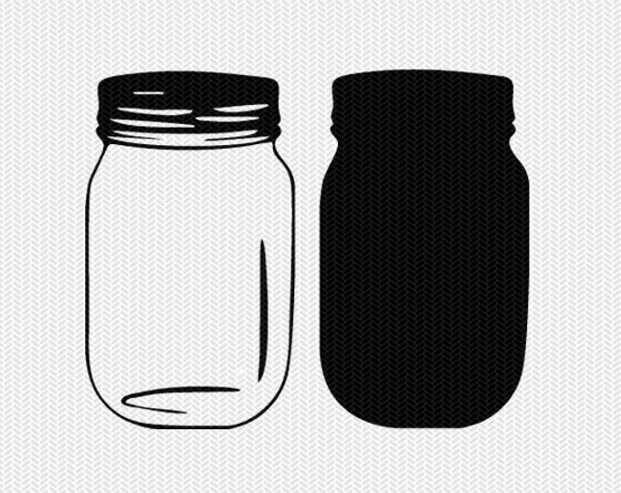 mason jar set svg dxf jpeg png file stencil silhouette cameo cricut clip art commercial use cricut downloads