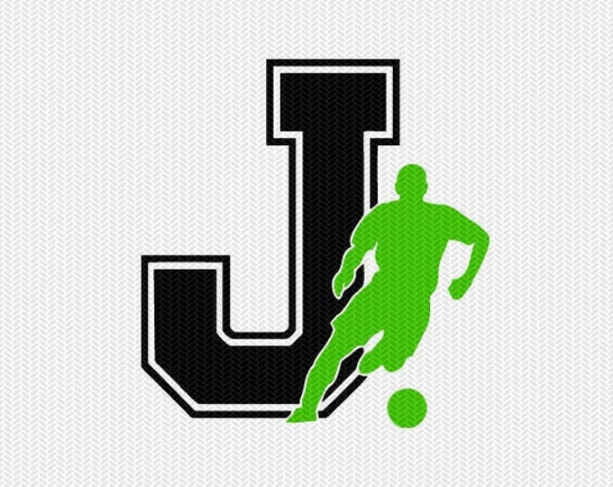 soccer J decal monogram silhouette stencil svg dxf file instant download silhouette cameo cricut downloads clip art commercial use