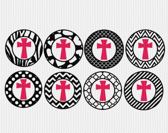 cross pattern circles gift tags stickers bottle caps svg dxf file stencil silhouette cameo cricut downloads clip art commercial use