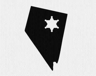 nevada sheriff svg dxf file stencil instant download silhouette cameo cricut downloads clip art sheriff state svg dxf file
