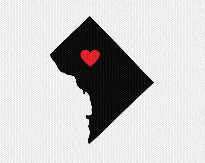 washington dc heart svg dxf file stencil monogram frame silhouette cameo cricut download clip art commercial use