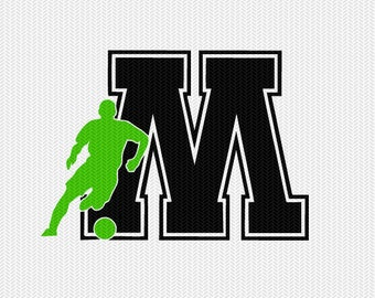 soccer M decal monogram silhouette stencil svg dxf file instant download silhouette cameo cricut downloads clip art commercial use