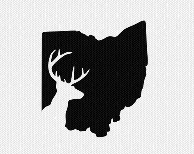 ohio deer hunting svg dxf file stencil instant download silhouette cameo cricut downloads clip art deer hunting state svg dxf file