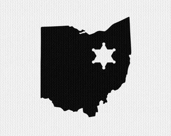 ohio sheriff svg dxf file stencil instant download silhouette cameo cricut downloads clip art sheriff state svg dxf file
