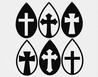 cross earring template set earring svg gift tags cricut download svg dxf file stencil silhouette cameo cricut clip art commercial use