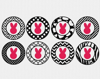 easter bunny pattern circles gift tags stickers bottle caps svg dxf file stencil silhouette cameo cricut downloads clip art commercial use