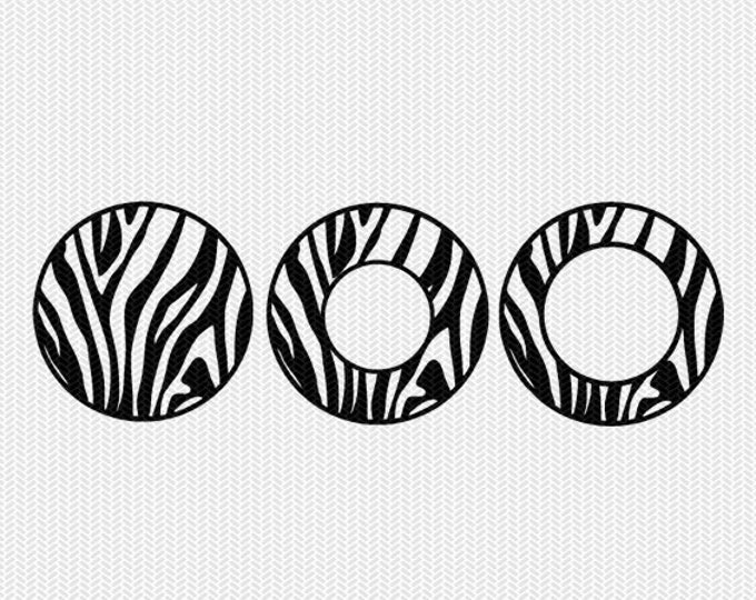 circle monogram frame zebra patterns svg dxf file instant download silhouette cameo cricut downloads clip art commercial use