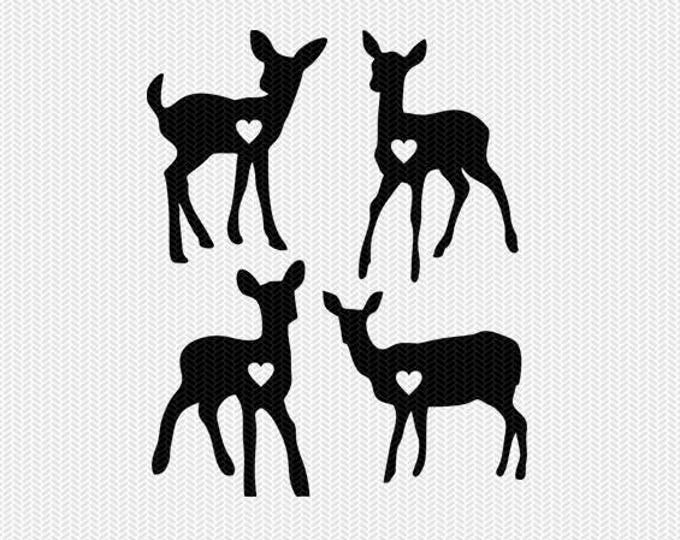 baby deer heart svg dxf jpeg png file instant download stencil monogram frame silhouette cameo cricut clip art commercial use