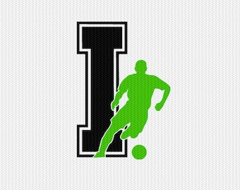 soccer I decal monogram silhouette stencil svg dxf file instant download silhouette cameo cricut downloads clip art commercial use
