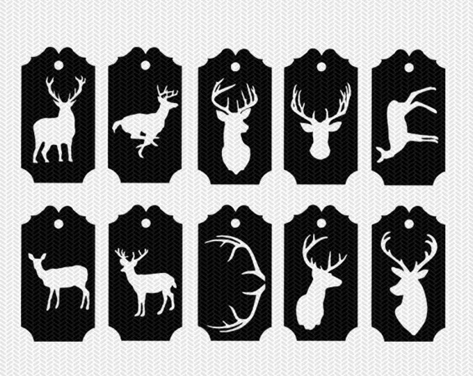 deer gift tags labels svg dxf cut file stencil silhouette cameo cricut downloads clip art commercial use