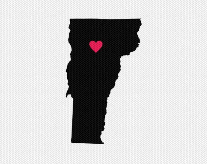 vermont heart svg dxf cut file stencil state silhouette cameo cricut downloads clip art commercial use