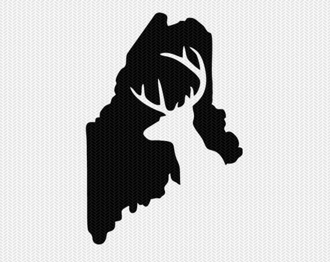 maine deer hunting svg dxf file stencil instant download silhouette cameo cricut downloads clip art deer hunting state svg dxf file