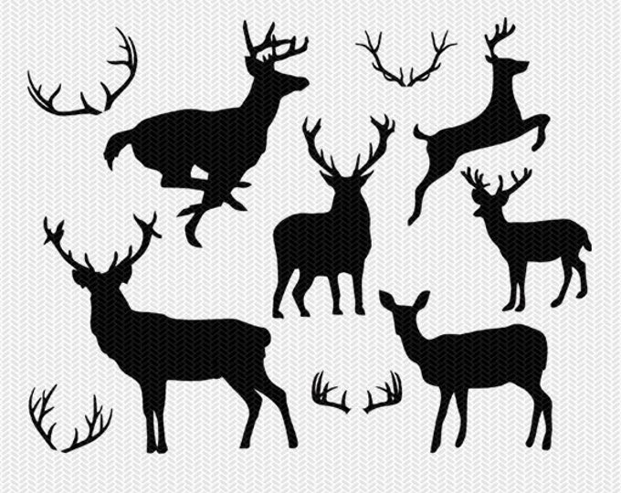 deer and antlers svg dxf file instant download silhouette cameo cricut download clip art commercial use