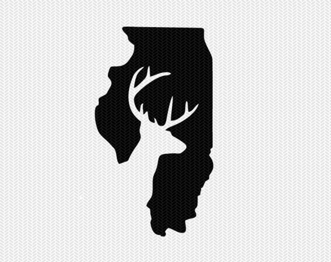 illinois deer hunting svg dxf file stencil instant download silhouette cameo cricut downloads clip art deer hunting state svg dxf file