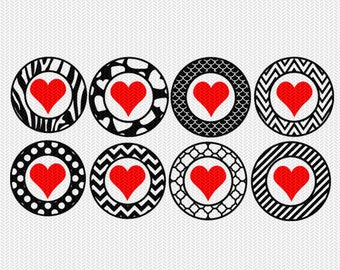 heart pattern circles gift tags stickers bottle caps svg dxf file stencil silhouette cameo cricut downloads clip art commercial use