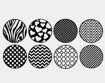 circle patterns gift tags stickers bottle caps svg dxf file stencil silhouette cameo cricut downloads clip art commercial use