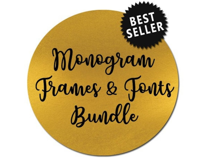 sale // monogram frames and fonts bundle // svg dxf file silhouette cameo cricut downloads clip art commercial use monogram svg files