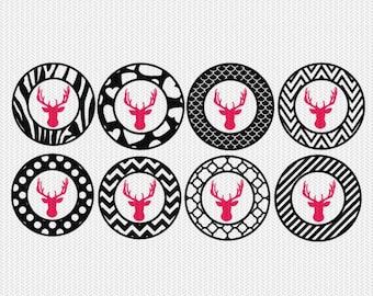 deer pattern circles gift tags stickers bottle caps svg dxf file stencil silhouette cameo cricut downloads clip art commercial use
