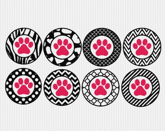 paw pattern circles gift tags stickers bottle caps svg dxf file stencil silhouette cameo cricut downloads clip art commercial use