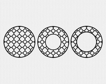 circle monogram frame patterns svg dxf file instant download silhouette cameo cricut downloads clip art commercial use