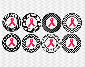 cancer ribbon pattern circles gift tags stickers bottle caps svg dxf file stencil silhouette cameo cricut downloads clip art commercial use