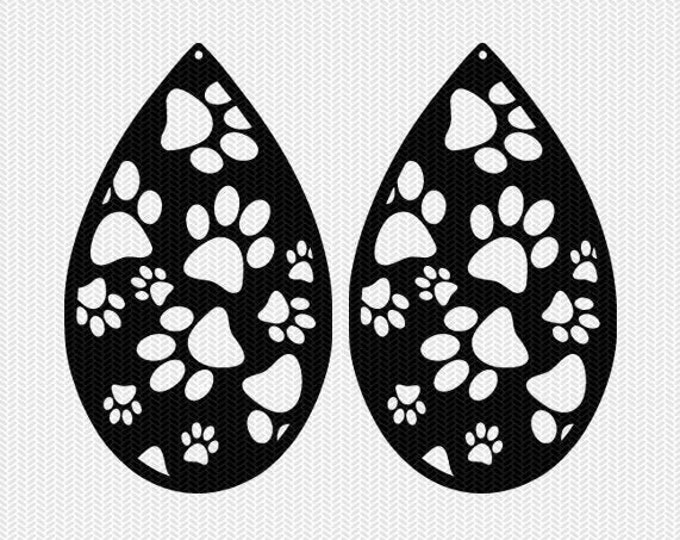paws earring template earring svg gift tags cricut download svg dxf file stencil silhouette cameo cricut clip art commercial use