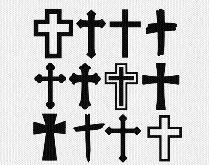 cross bundle  svg dxf file instant download stencil silhouette cameo cricut downloads religious christian monogram frame commercial use