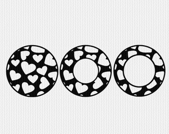 circle monogram frame hearts patterns svg dxf file instant download silhouette cameo cricut downloads clip art commercial use