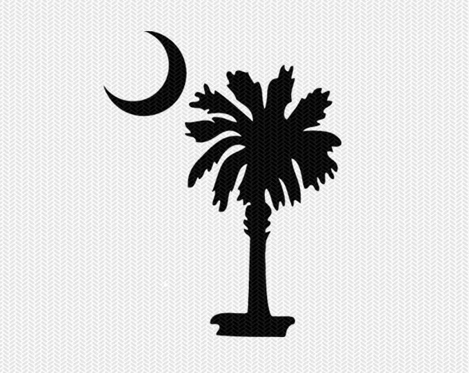 south carolina palm tree decal silhouette svg dxf file instant download silhouette cameo cricut download clip art commercial use