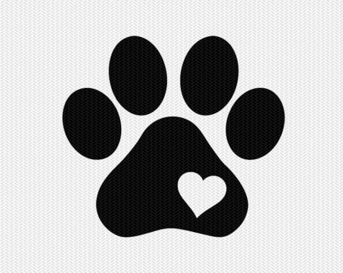 dog paw heart svg dxf file instant download silhouette cameo cricut downloads clip art commercial use